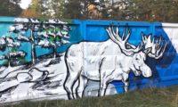Оформление забора Лаэс граффити лось